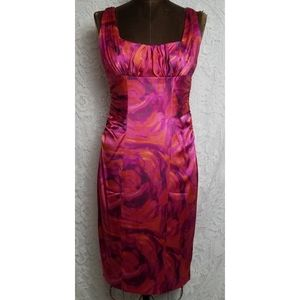 Silk Satin Stretch Ruched side midi dress 2